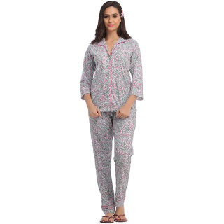 Pink Shirt Style Top  Pyjama With Satin Piping