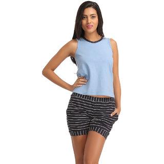 Clovia Cotton Tank Top  Striped Short - Blue