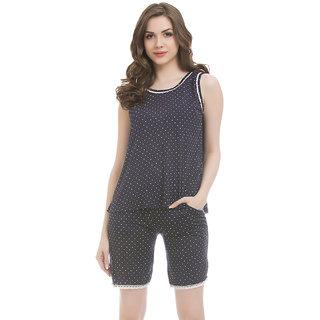 Clovia Blue Cotton Lycra Top  Shorts With Lace Trims