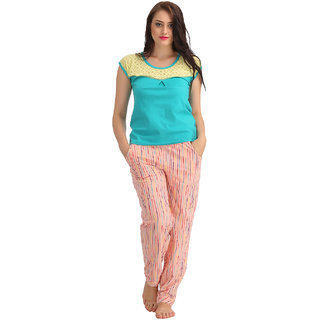 Clovia Cotton Top  Full Length Pyjama - Green