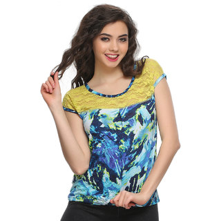 Clovia Cotton Top With Lace Yoke