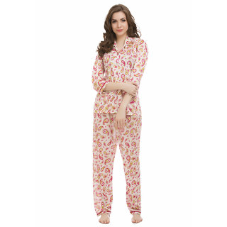 Clovia Satin Printed Night Shirt  Full Length Pyjama - Pink