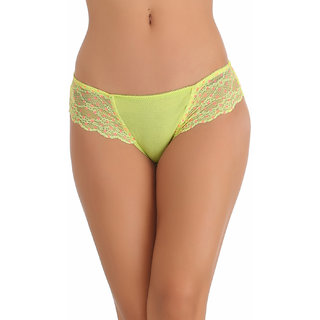 Clovia Cotton Bikini In Yellow With Lacy Sides