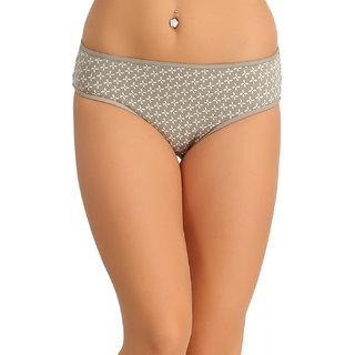 Clovia Cotton Bikini With Mid Waist Coverage - Grey