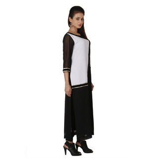 Payal Jeswani Ceremony Black and White Georgette  Kurti For Women