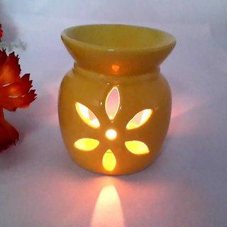 Yellow Ceramic Aroma Tea Light