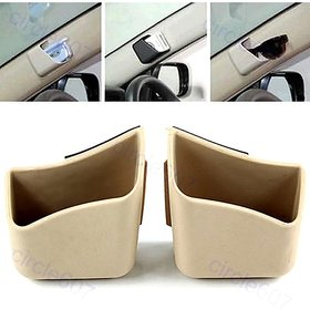 Type R - 2 X Car Pillar Pocket Holder Box Cigarette/Cellphone/ Holder - Beige