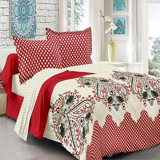 Valtellina Cotton Traditional  Red Double Bedsheet with 2 Contrast Pillow Covers(TC-129)