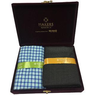 Melluha New Formal Wear synthetic Viscose Blue Color Shirt  Black Color trouser combo in velvet box