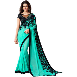 Krinal Enterprise Blue COLOR GEORGETTE SAREE