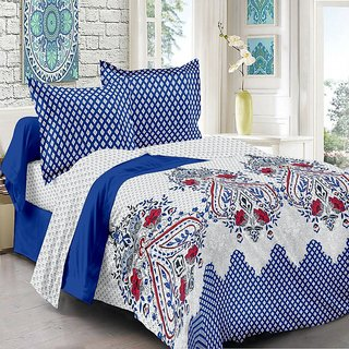 Valtellina Cotton Traditional  Blue Double Bedsheet with 2 Contrast Pillow Covers(TC-129)