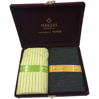 Melluha New Formal Wear synthetic Viscose Yellow Color Shirt  Black Color trouser combo in velvet box