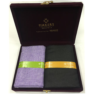 Melluha New Formal Wear synthetic Viscose Purple Color Shirt  Black Color trouser combo in velvet box