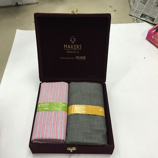 Melluha New Formal Wear synthetic Viscose Peach Color Shirt  Black Color trouser combo in velvet box