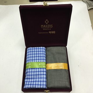 Melluha New Formal Wear synthetic Viscose Blue Color Shirt  Grey Color trouser combo in velvet box