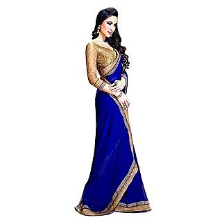 Stylzone Multicolor Georgette Plain Saree With Blouse