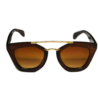 Women  Men  Brown Ratro Style Sunglass
