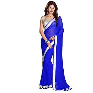 Sarees Womens Latest Lace Work Faux Georgette Saree with Unstitched Blouse Piece