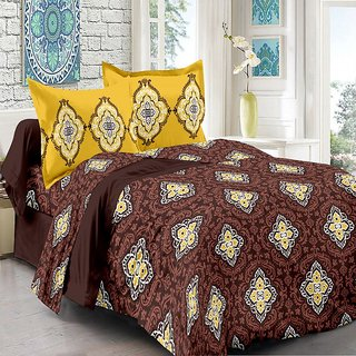 Valtellina Cotton Floral Brown Double Bedsheet with 2 Contrast Pillow Covers(TC-129)