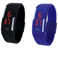 Super Selling Combo Of Two Band Watches For Men Blackbl