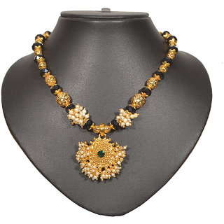 Pourni Pearl and color stone necklace thushi
