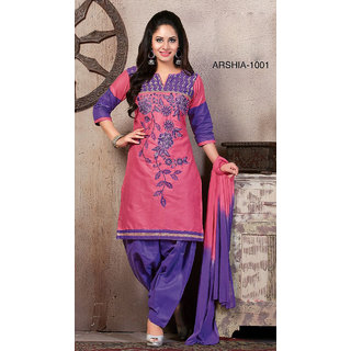 Trendz Apparels Pink Cotton Straight Fit Salwar Suit