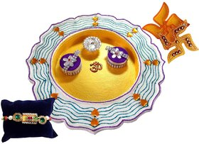 Unique Arts Striped Stainwood Pooja Thali With Rakhi An