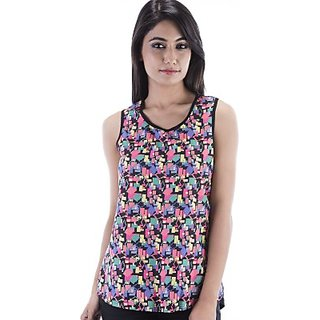 Amadore Casual Sleeveless Printed Womens Multicolor Top