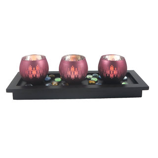 Lilac Mercury Glass Votive Set Of 3 With Tray