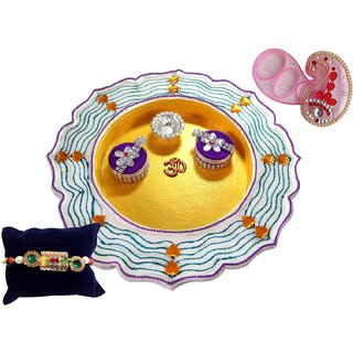Unique Arts Striped Stainwood Pooja Thali with Rakhi and Pink Roli Box