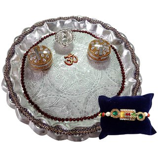 Unique Arts Silver Plastic Pooja Thali with Rakhi