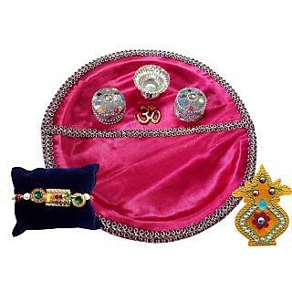 Unique Arts Pink Plastic Pooja Thali With Rakhi And Kalash Roli Box