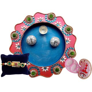 Unique Arts BluePink Wooden Pooja Thali With Rakhi And Pink Roli Box