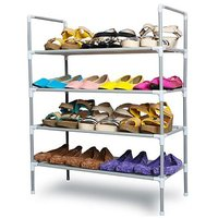 Portable Multipurpose Modern 4 Layer Metal Shoe Rack Shoes Storage Cabinet Best Foldable Movable Organizer Stackable Hol