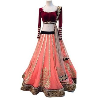 Embroidered Womens Lehenga, Choli and Dupatta Set