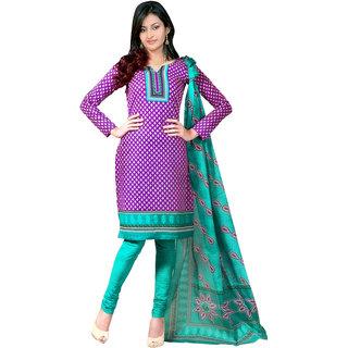 Satrang Purple Synthetic,Crepe Printed Dress Material