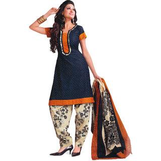 Satrang Blue Cotton Printed Dress Material