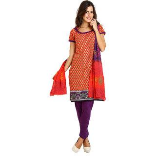 Satrang Red Cotton Printed Dress Material