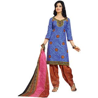 Aryahi Blue Cotton Printed Dress Material