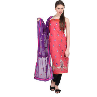 Satrang Red Cotton Embroidered Dress Material