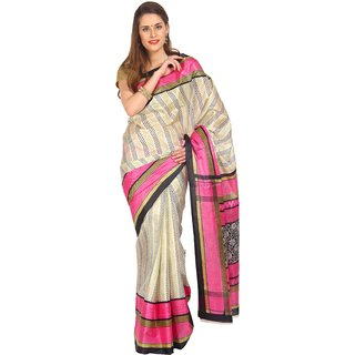 Parchayee Pink Silk Striped Saree Without Blouse