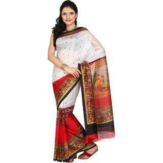 Parchayee White Silk Printed Saree Without Blouse