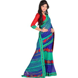 Parchayee Blue Cotton Printed Saree Without Blouse