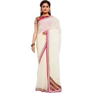 Avinandan White Embroidered Georgette Party Wear Saree