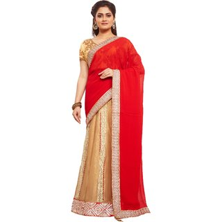 Avinandan Red Embroidered Georgette Party Wear Saree