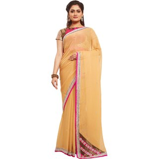 Avinandan Beige Embroidered Georgette Party Wear Saree