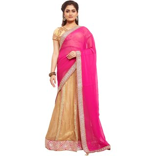 Avinandan Pink Embroidered Georgette Party Wear Saree