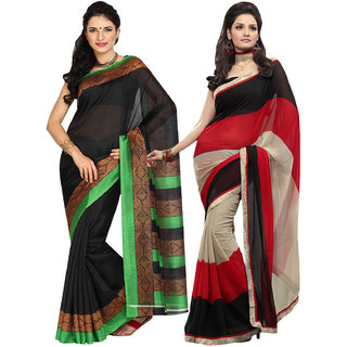 Aryahi Black,Beige Art Silk Printed Sarees (Pack of 2)