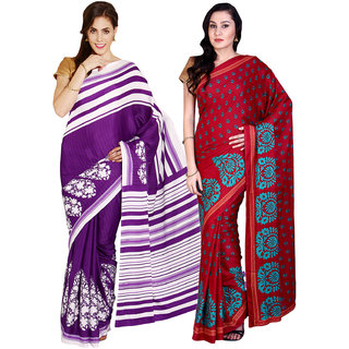 Aryahi Red,Purple Crepe Printed Sarees (Combo of 2)