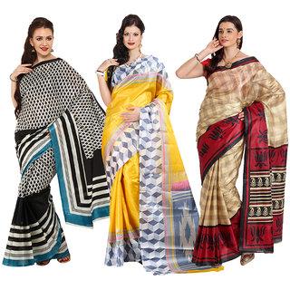Aryahi Multicolor Art Silk Printed Sarees (Pack of 3)